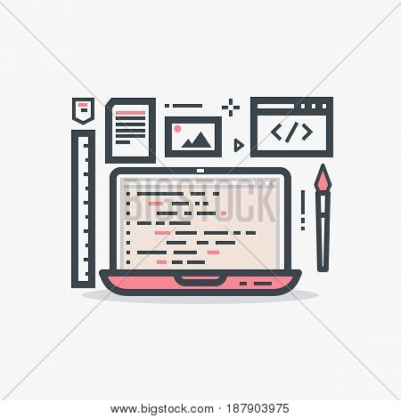 Web designer or programmer pink women's laptop. Flat style line vector. Laptop with website and designer tools. Media files photos ruler documents and paint brush. Thin line modern style