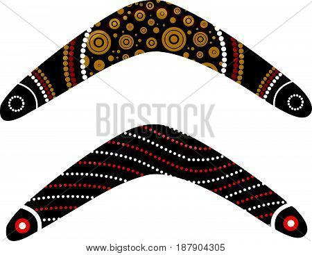 Australian boomerang vector. Illustration based on aboriginal style of boomerang.