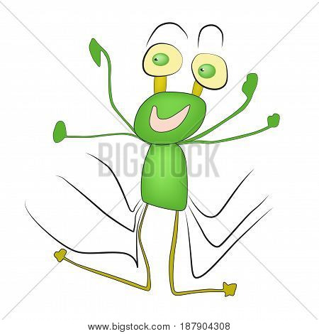 Cute smiling cartoon monster - alien character