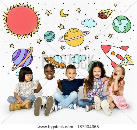 Group of students studying astronomy outerspace