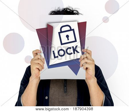Man holding banner covering face network graphic overlay