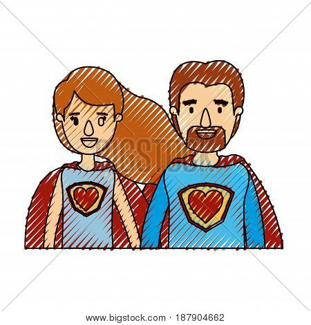 color crayon stripe caricature half body couple super hero with heart symbol in uniform vector illustration