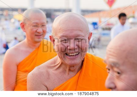 BANGKOKTHAILAND - FEBRUARY 22 2016: Venerable Dhattajeevo Bhikku Thai monk during Buddhist ceremony Magha Puja Day in Wat Phra Dhammakaya
