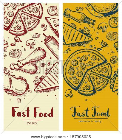 Fast food vintage vertical flyers. Restaurant vector illustration with burger, pizza, sandwich, french fries elements. Cafe price card cover, junk food retro design with snack linear sketches