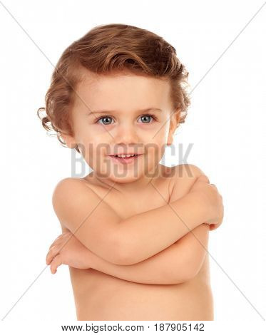 Adorable baby hugging himself isolated on a white background