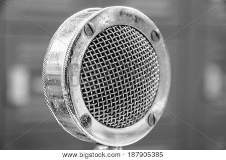 High contrast Antique Vintage Microphone with Grille I