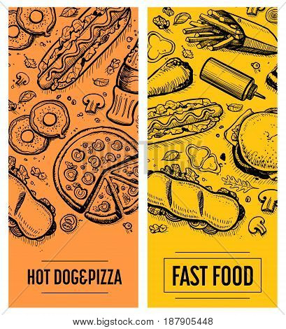 Fast food restaurant menu card template set. Vector illustration with burger, pizza, sandwich, french fries elements. Cafe price cover design, junk food retro poster with snack linear sketches