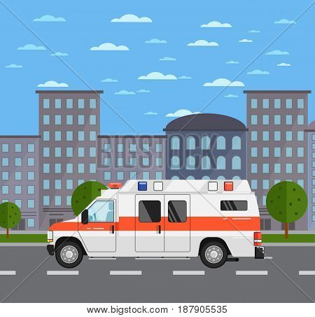 Ambulance car on road in urban landscape. Service auto vehicle, city emergency transport, urban roadside assistance. City street road traffic vector illustration, cityscape background