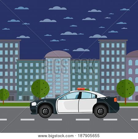 Police car on road in urban landscape. Service auto vehicle, city emergency transport, urban roadside assistance. City street road traffic vector illustration, cityscape background