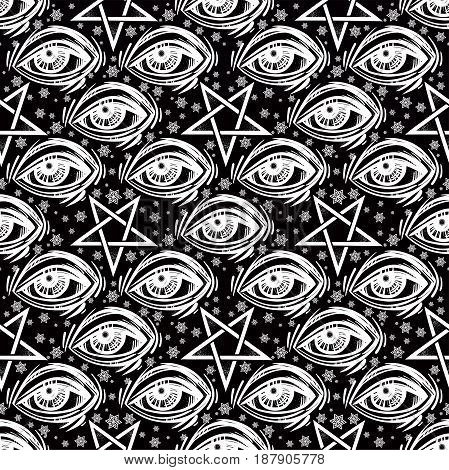 Seamless pattern with all-seeing eye, stars and reverse pentagram. Occult design vector illustration. Ink tattoo repetition flash design. Vector illustration. Satanism, Sacred Spirit. Masonic sign.