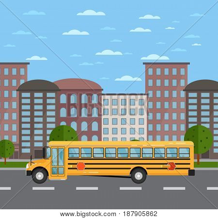 Yellow school bus on road in urban landscape. Service auto vehicle, city public transport, urban social assistance. City street road traffic vector illustration, cityscape background