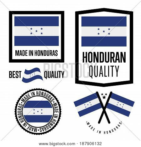 Honduras quality isolated label set for goods. Exporting stamp with honduran flag, nation manufacturer certificate element, country product vector emblem. Made in Honduras badge collection.