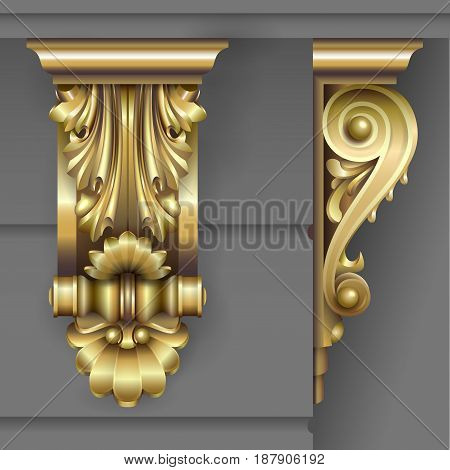 Gold Architectural bracket from facade in classic baroque style for the building. Vector graphics.
