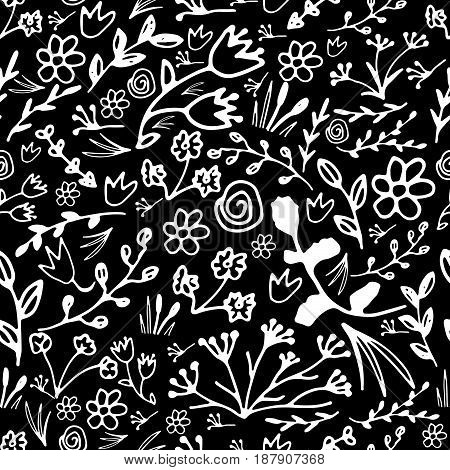 Hand drawn floral seamless pattern. Doodle flowers and leaves illustration.