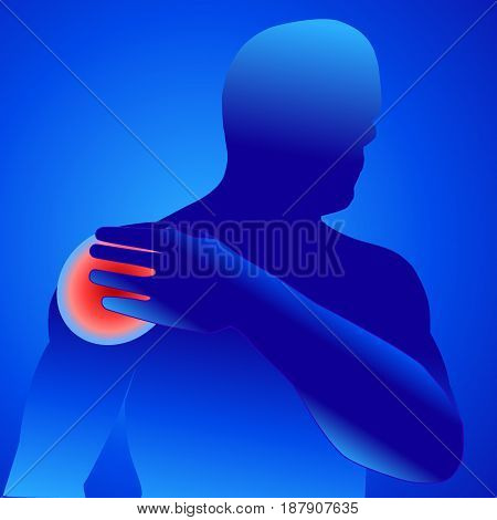 illustration vector of shoulder bone and joint pain mens shoulder