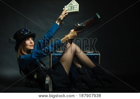 Steampunk Girl With Cash.