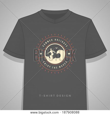 Summer holidays typography tee shirt print graphics template vector illustration. Badge or Label stamp for t-shirt apparel design. Summer symbols and decoration elements. poster