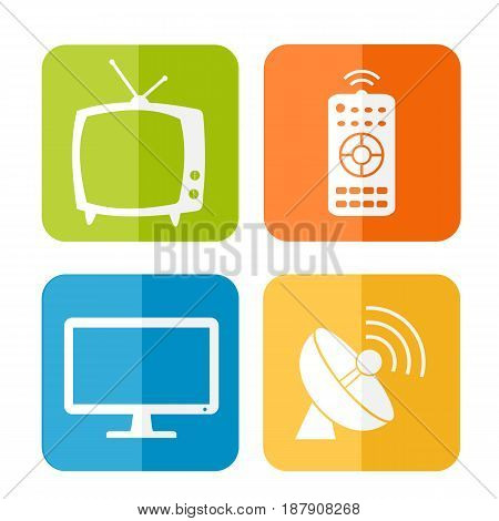 Vector household tv related icons on colored buttons
