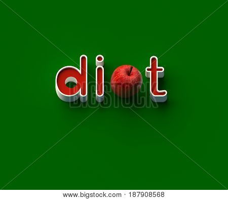 3D RENDERING OF WORDS 'di', AN APPLE AND 't' ON GREEN PLAIN BACKGROUND