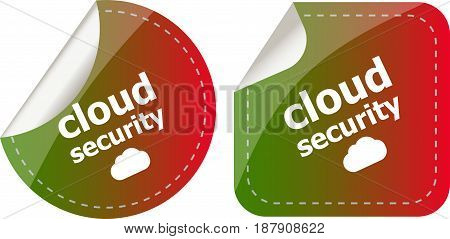 Cloud Security Stickers Label Tag Set Isolated On White
