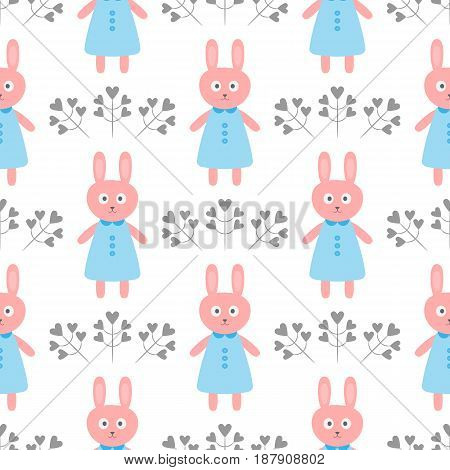Cute rabbit in a dress. Flowers in the form of hearts. Cartoon seamless pattern. Vector illustration. White blue pink dark gray.