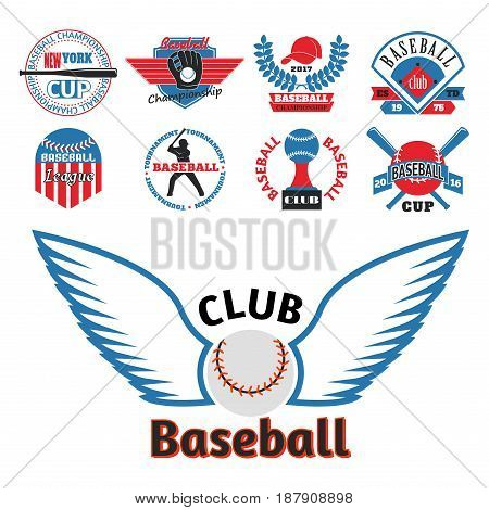 Baseball badge sport logo team identity vector illustration. Tournament competition graphic champion professional blue red color american player set. Collection logo athletic branding insignia.
