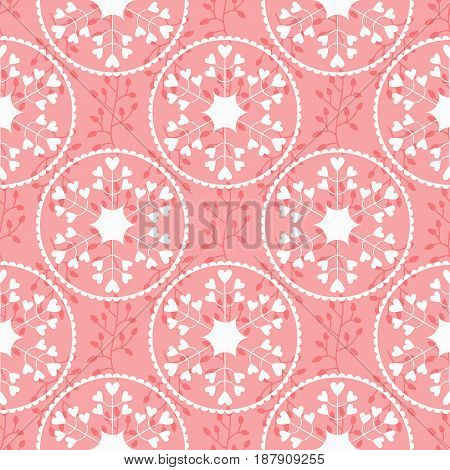 Floral pattern with silhouettes of branches and abstract round flowers. Petals in the form of hearts decorative frames. Feminine seamless pattern. Vector illustration. Pink white color.