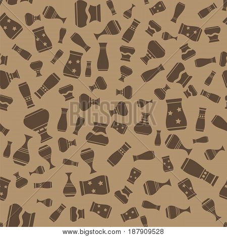 Vases Silhouettes Seamless Pattern on Brown Background