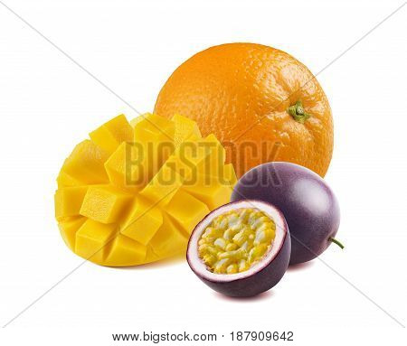 Mango orange passionfruit isolated on white background as package design element