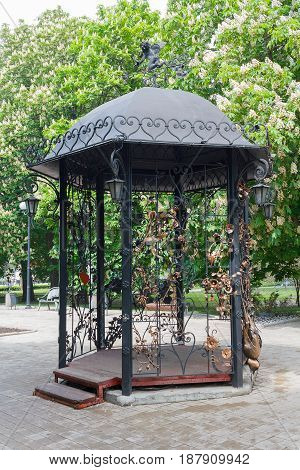 Beautiful gazebo made of forged metal. Donetsk Ukraine
