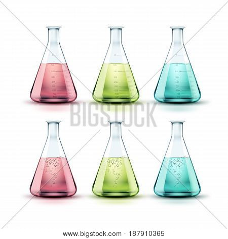 Vector set of transparent glass chemical laboratory flasks with green, pink, blue liquid and bubbles isolated on white background