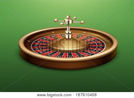 Vector realistic casino roulette wheel side view isolated on green poker table