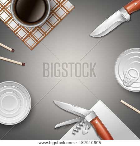 Vector camping still life with canned goods, knives, matches, napkins and cup of coffee with copyspace top view