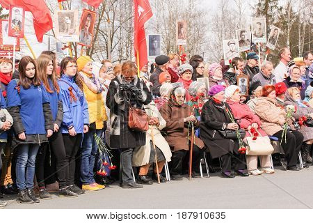 Kirishi, Russia - 9 May, Festive rally on Victory Day, 9 May, 2017. Holding a festive rally dedicated to the Victory Day.