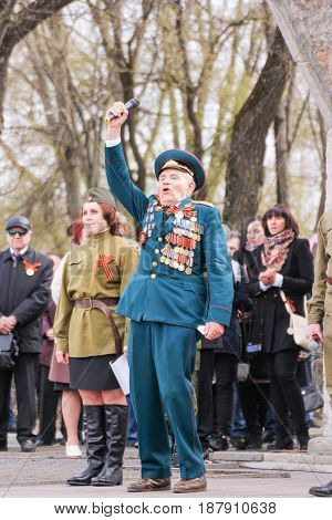 Kirishi, Russia - 9 May, Emotional speech of a veteran of the war, 9 May, 2017. Holding a festive rally dedicated to the Victory Day.