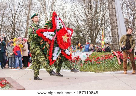 Kirishi, Russia - 9 May, Ceremonial ritual of laying wreaths, 9 May, 2017. Laying wreaths and flowers in memory of the fallen at the Eternal Flame.