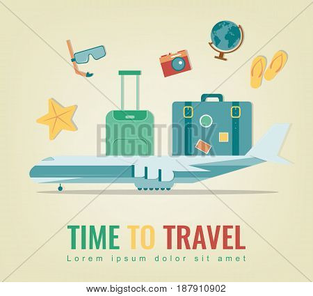 Travel background. Summer holidays. Travel and tourism concept. Vector illustration