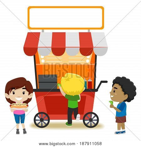 Vector Illustration of Kids Buying Food at the Food Stall