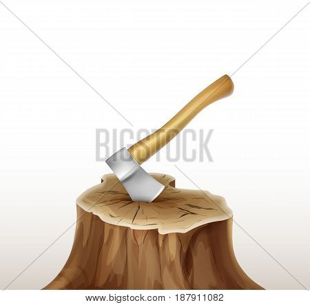 Vector iron axe with brown, ocher wooden handle in stump isolated on white background