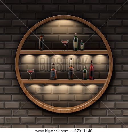 Vector brown round wooden shelves with backlights and glass bottles of alcohol isolated on dark brick wall