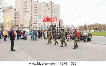 Kirishi, Russia - 9 May, Speech of a group of special forces on the square, 9 May, 2017. Holiday demonstration speeches of special forces soldiers in honor of Victory Day.