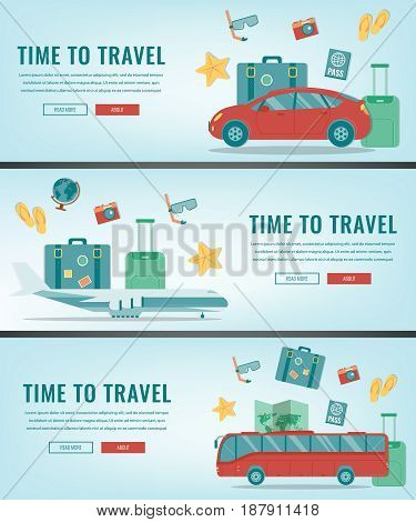 Travel banners. Summer holidays. Travel and tourism concept. Vector illustration