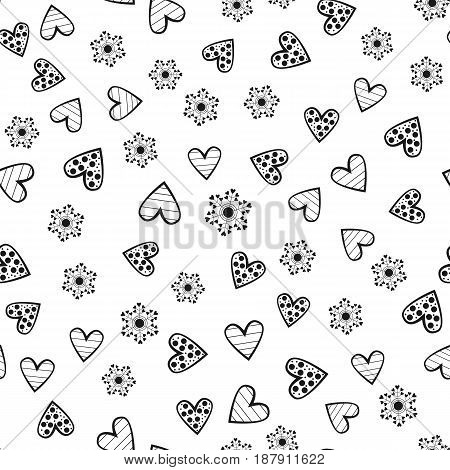 Abstract round flowers and decorated outlines of hearts. Seamless pattern. Randomly scattered black elements isolated on white background. Vector illustration.