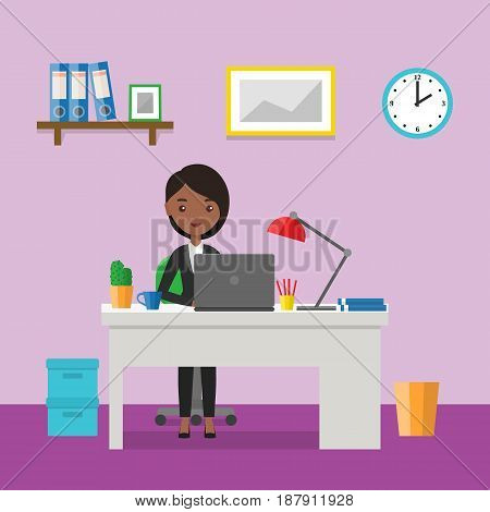 Flat woman sitting at desk. Workspace or home workplace with cartoon female character. Office interior and furniture. Animated people icon. Vector illustration.