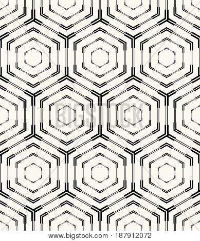 Vector seamless pattern. Modern stylish monochrome geometric texture with structure of repeating hexagons. Technological background for web prints or wrapping paper.