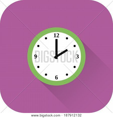 Clock icon. Vector. Flat design with long shadow. Green time symbol isolated on violet background.