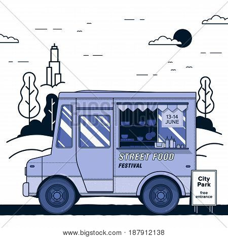 Concept of street food festival. Purple food truck. Colorful vector illustration