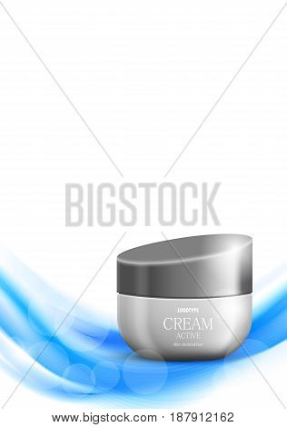 Skin moisturizer cosmetic ads template with gray realistic container on blue wavy soft dynamic bright smooth lines background. Vector illustration