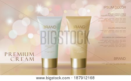 Delicate pink cosmetic ad. Beige white face cream mask tube reflection package mockup blurred defocused shiny background template art