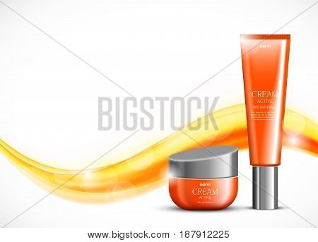 Skin moisturizer cosmetic ads template with orange realistic packages on wavy soft bright smooth curved lines background. Vector illustration